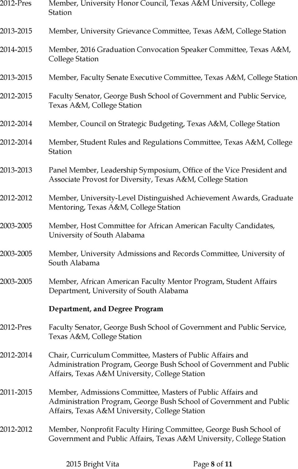 and Public Service, Texas A&M, College Station 2012-2014 Member, Council on Strategic Budgeting, Texas A&M, College Station 2012-2014 Member, Student Rules and Regulations Committee, Texas A&M,