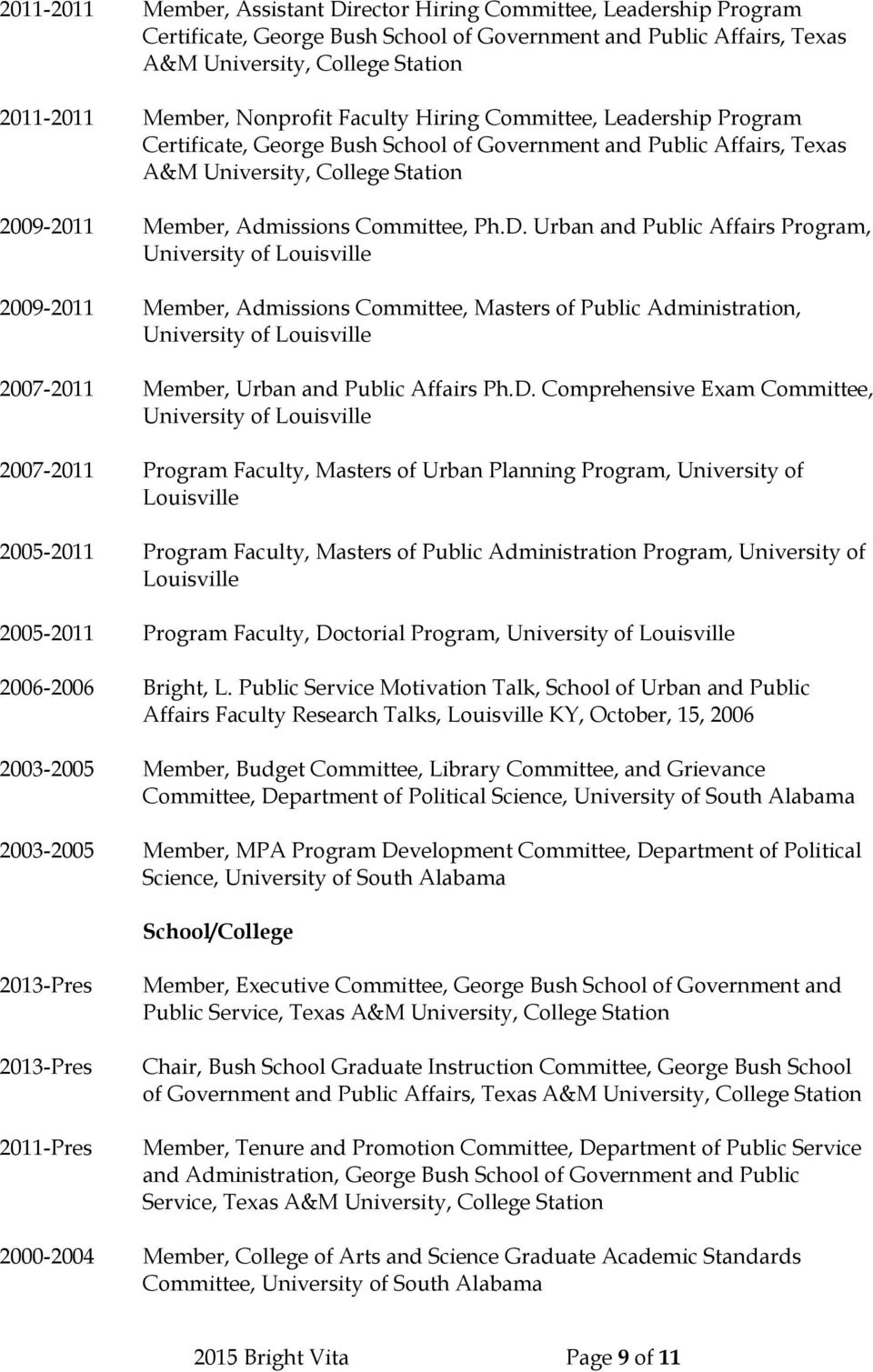 Ph.D. Urban and Public Affairs Program, University of Louisville 2009-2011 Member, Admissions Committee, Masters of Public Administration, University of Louisville 2007-2011 Member, Urban and Public
