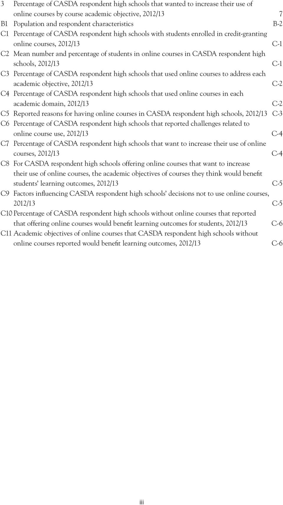 C3 age of CASDA respondent high schools that used online courses to address each academic objective, 2012/13 C-2 C4 age of CASDA respondent high schools that used online courses in each academic