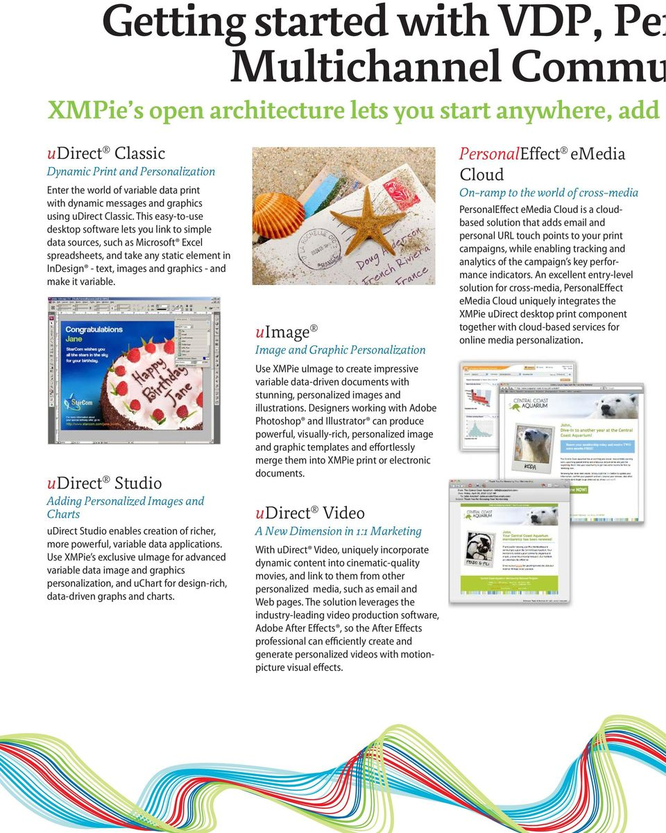 variable. udirect Studio Adding Personalized Images and Charts udirect Studio enables creation of richer, more powerful, variable data applications.
