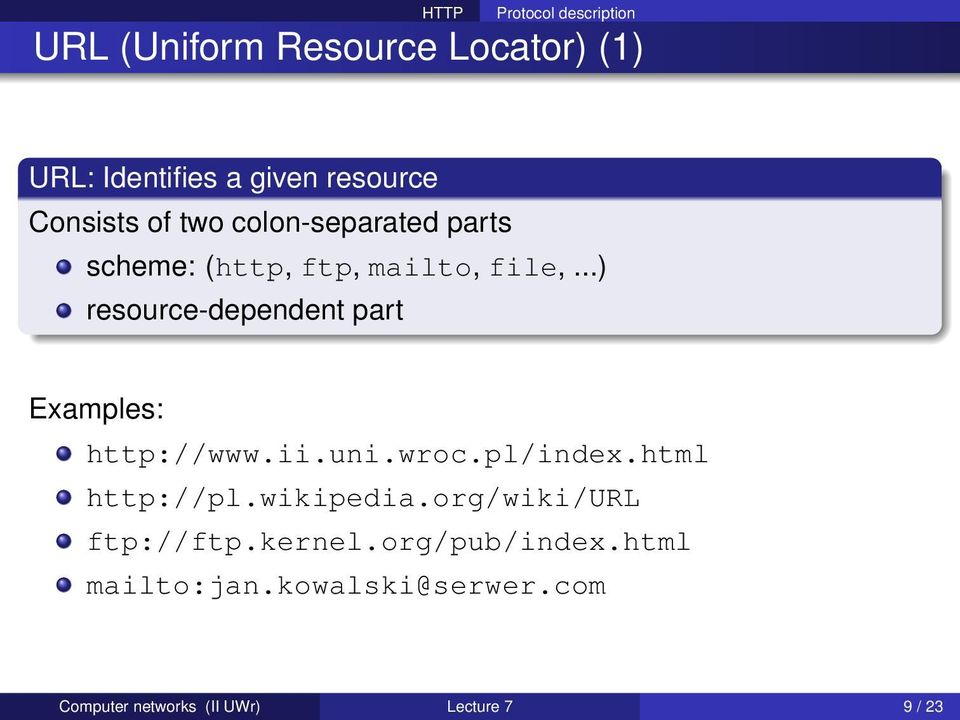 ..) resource-dependent part Examples: http://www.ii.uni.wroc.pl/index.html http://pl.
