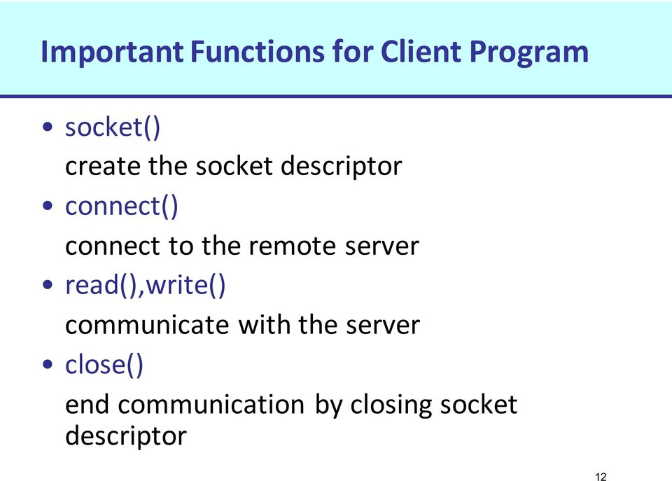 remote server read(),write() communicate with the