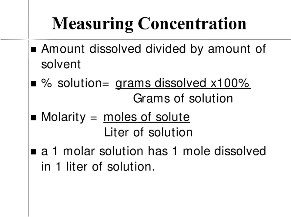 of solution Molarity = moles of solute Liter of solution