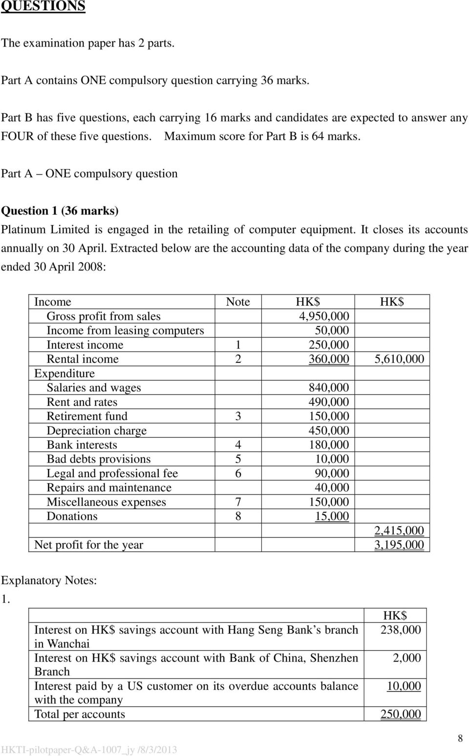 Part A ONE compulsory question Question 1 (36 marks) Platinum Limited is engaged in the retailing of computer equipment. It closes its accounts annually on 30 April.