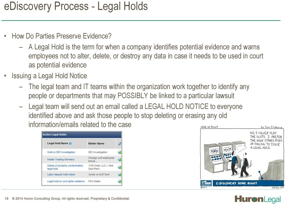 potential evidence Issuing a Legal Hold Notice The legal team and IT teams within the organization work together to identify any people or departments that may POSSIBLY be