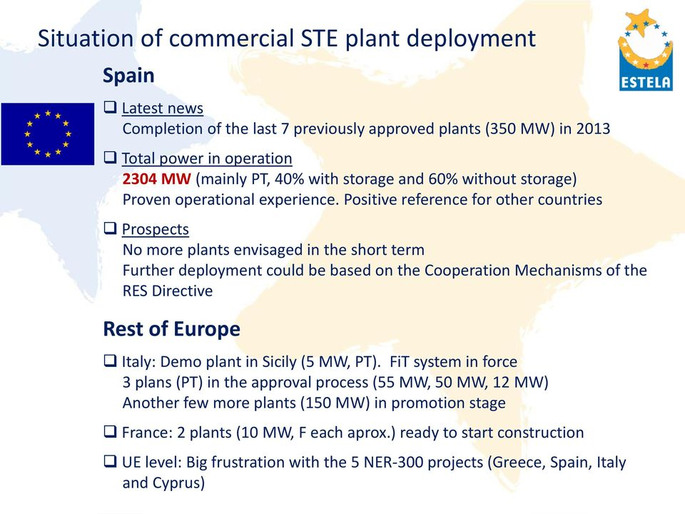 Positive reference for other countries Prospects No more plants envisaged in the short term Further deployment could be based on the Cooperation Mechanisms of the RES Directive Rest of Europe