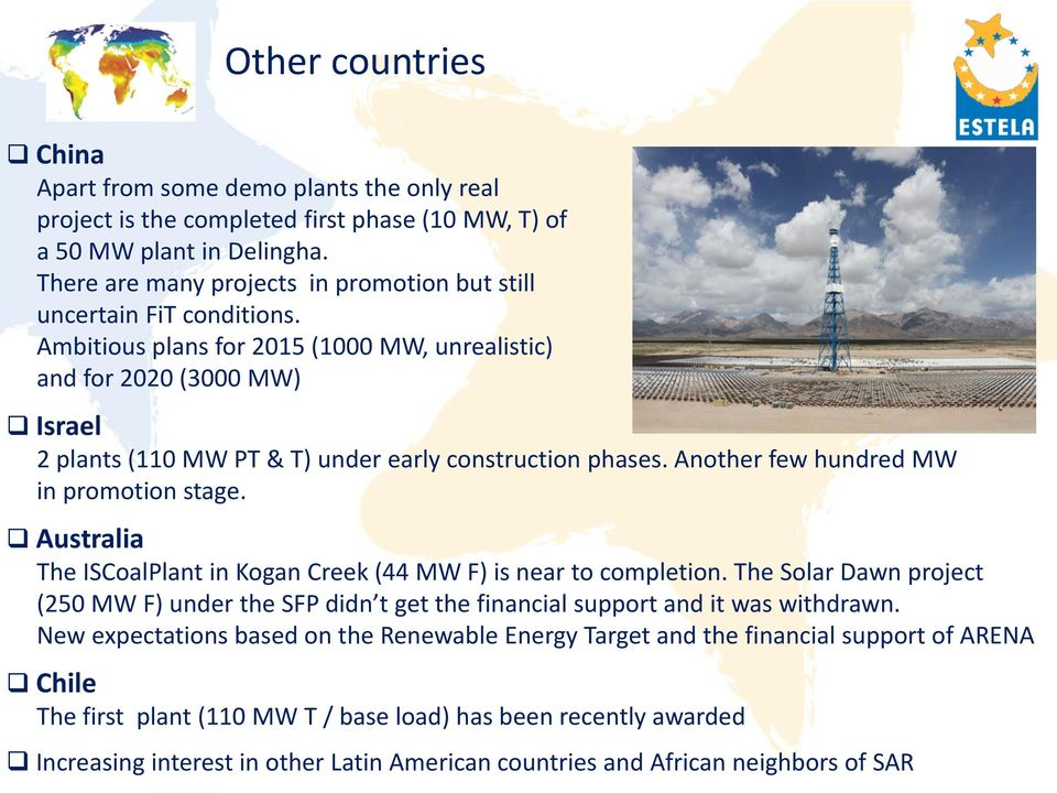 Ambitious plans for 2015 (1000 MW, unrealistic) and for 2020 (3000 MW) Israel 2 plants (110 MW PT & T) under early construction phases. Another few hundred MW in promotion stage.