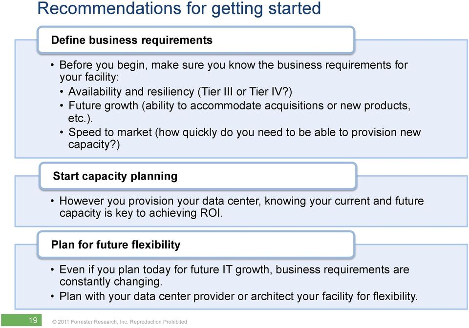 ) Start capacity planning However you provision your data center, knowing your current and future capacity is key to achieving ROI.