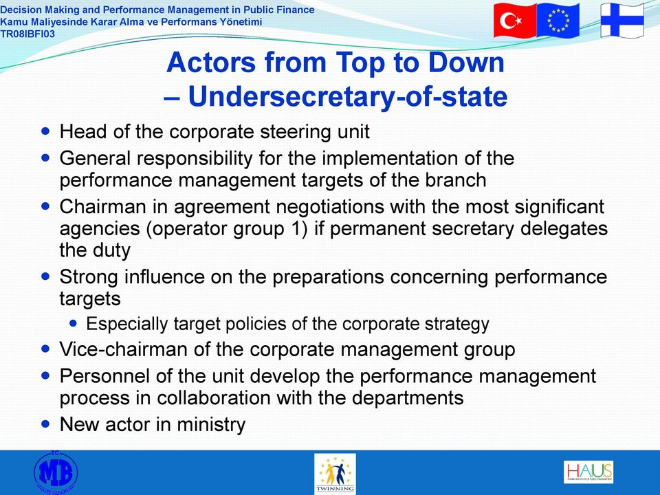 delegates the duty Strong influence on the preparations concerning performance targets Especially target policies of the corporate strategy