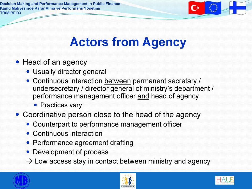 Practices vary Coordinative person close to the head of the agency Counterpart to performance management officer