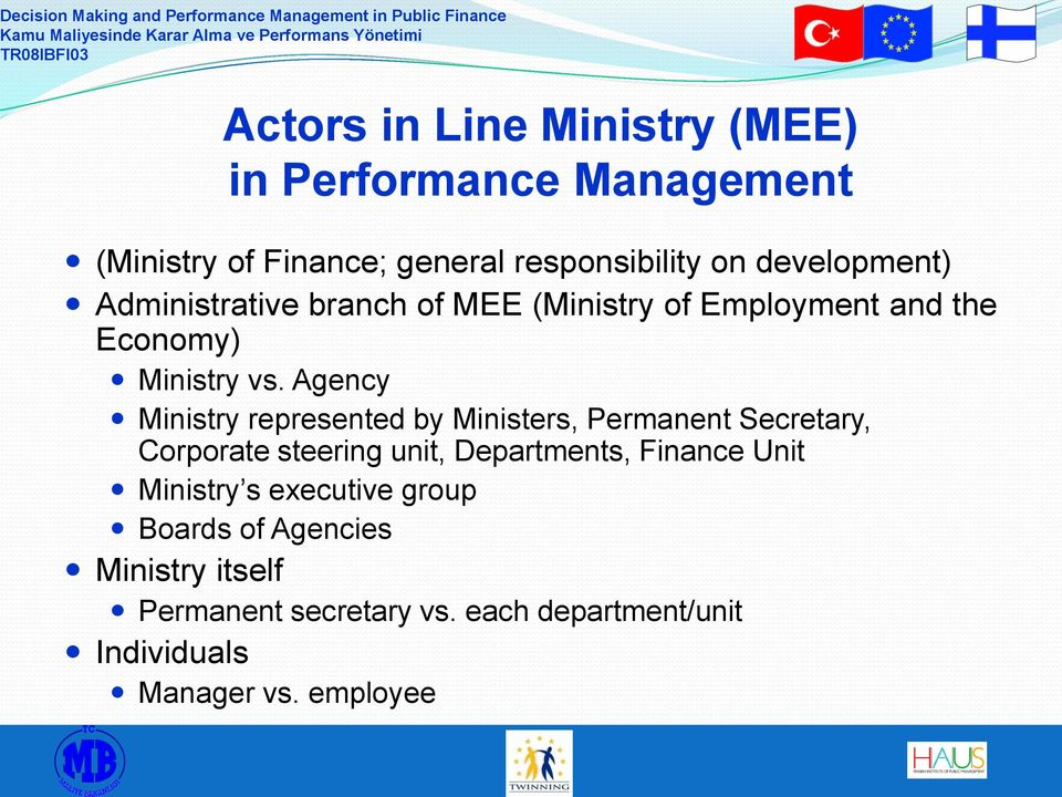 Agency Ministry represented by Ministers, Permanent Secretary, Corporate steering unit, Departments, Finance Unit