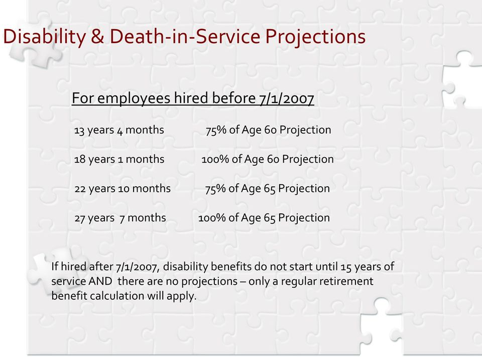 27 years 7 months 100% of Age 65 Projection If hired after 7/1/2007, disability benefits do not start