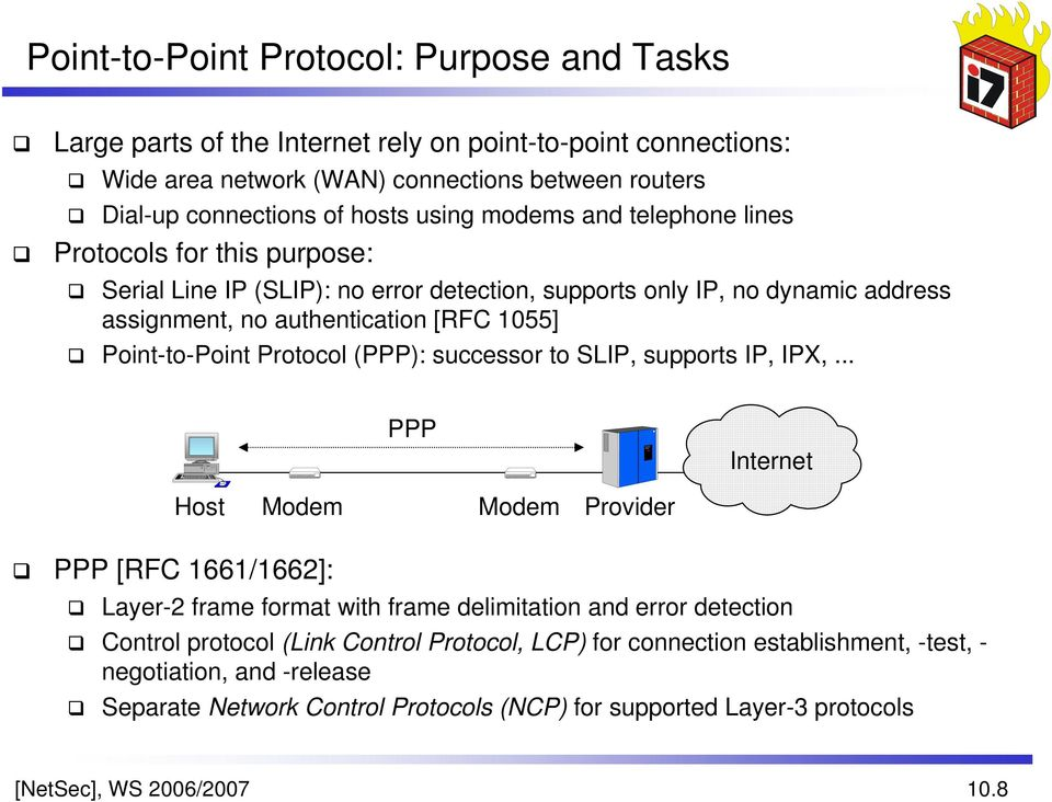 Protocol (PPP): successor to SLIP, supports IP, IPX,.