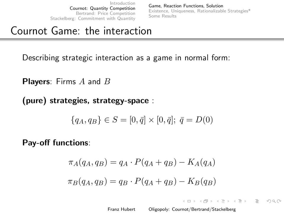 Players: Firms A and B (pure) strategies, strategy-space : {q A, q B } S = [0, q] [0, q]; q = D(0)