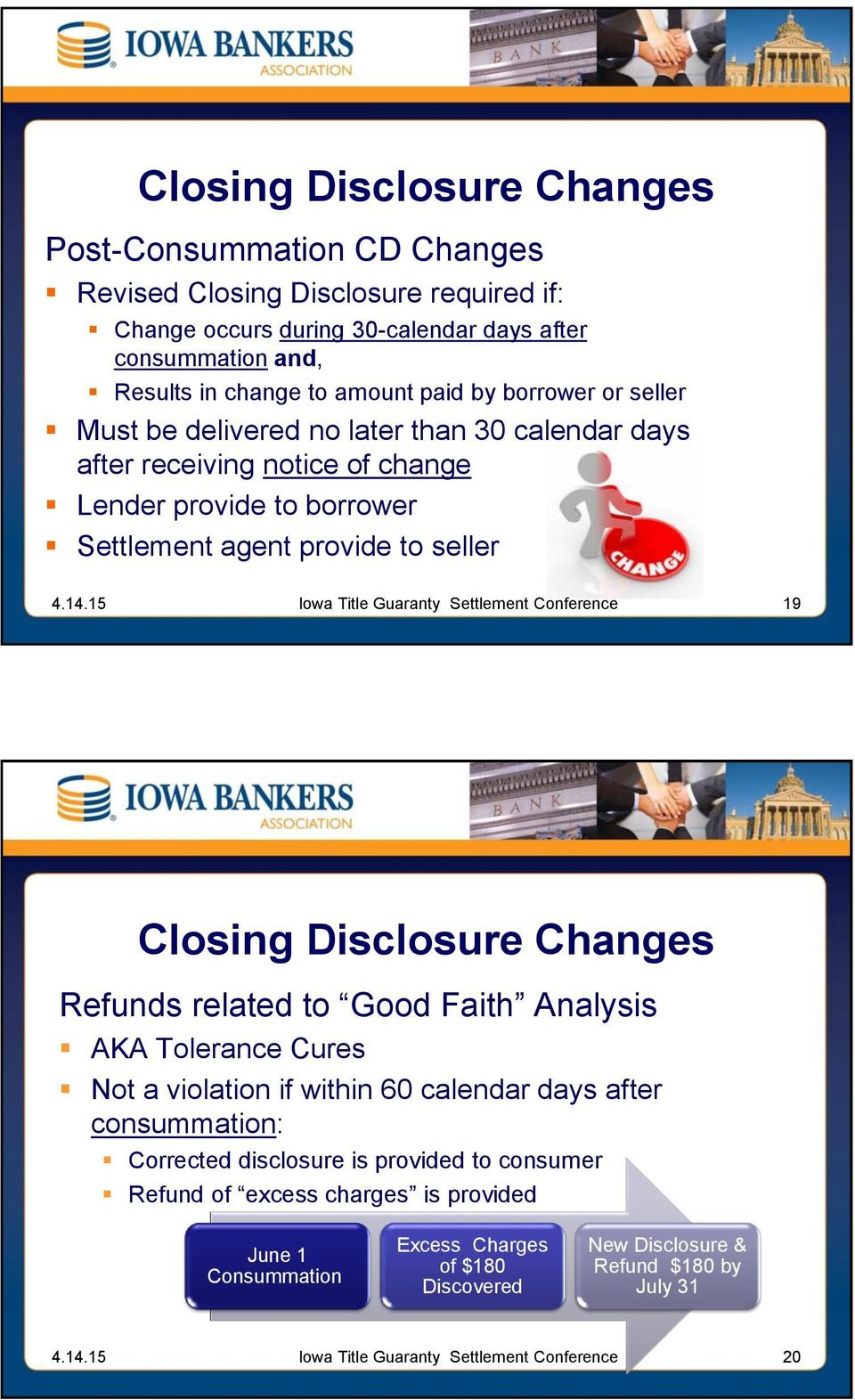 provide to seller 19 Closing Disclosure Changes Refunds related to Good Faith Analysis AKA Tolerance Cures Not a violation if within 60 calendar days after consummation: