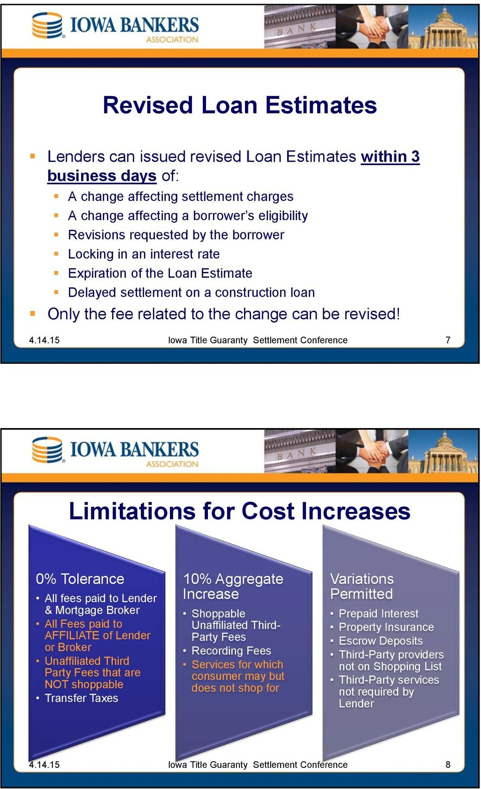 7 Limitations for Cost Increases 0% Tolerance All fees paid to Lender & Mortgage Broker All Fees paid to AFFILIATE of Lender or Broker Unaffiliated Third Party Fees that are NOT shoppable Transfer