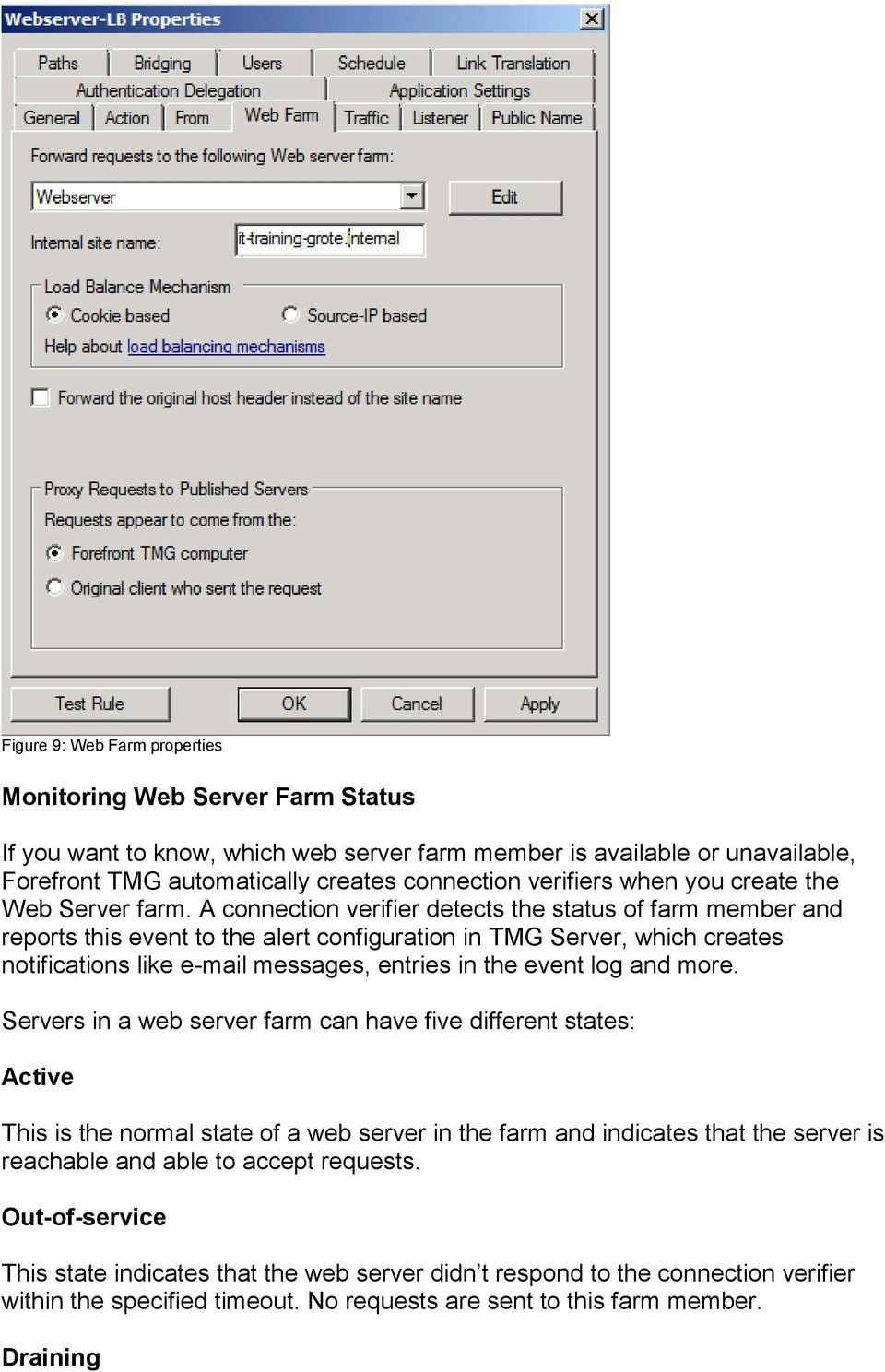 A connection verifier detects the status of farm member and reports this event to the alert configuration in TMG Server, which creates notifications like e-mail messages, entries in the event log and