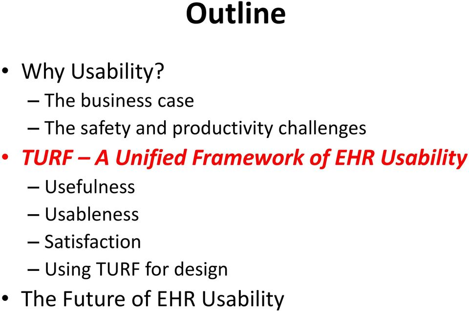 challenges TURF A Unified Framework of EHR
