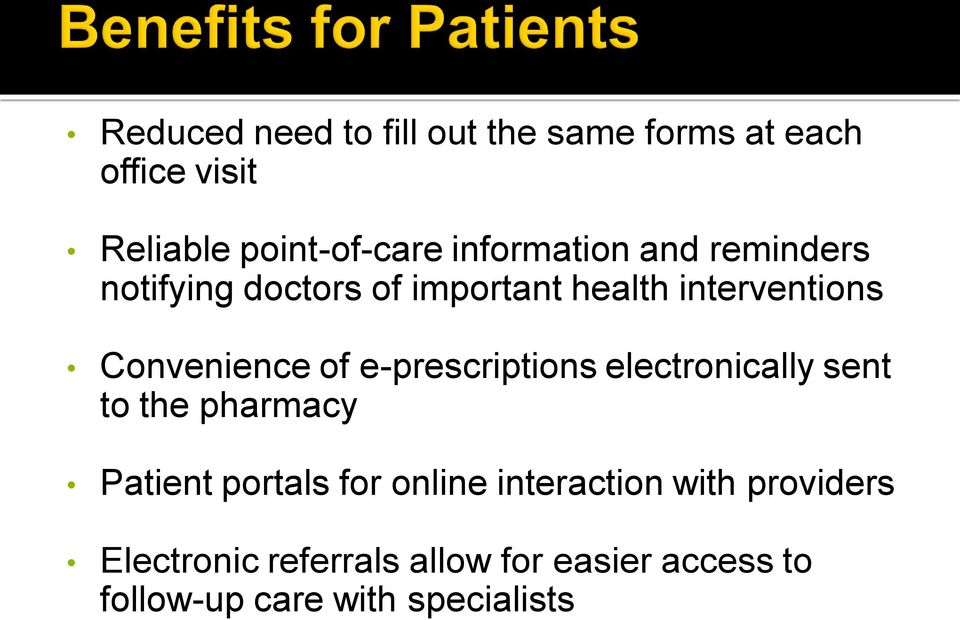 of e-prescriptions electronically sent to the pharmacy Patient portals for online
