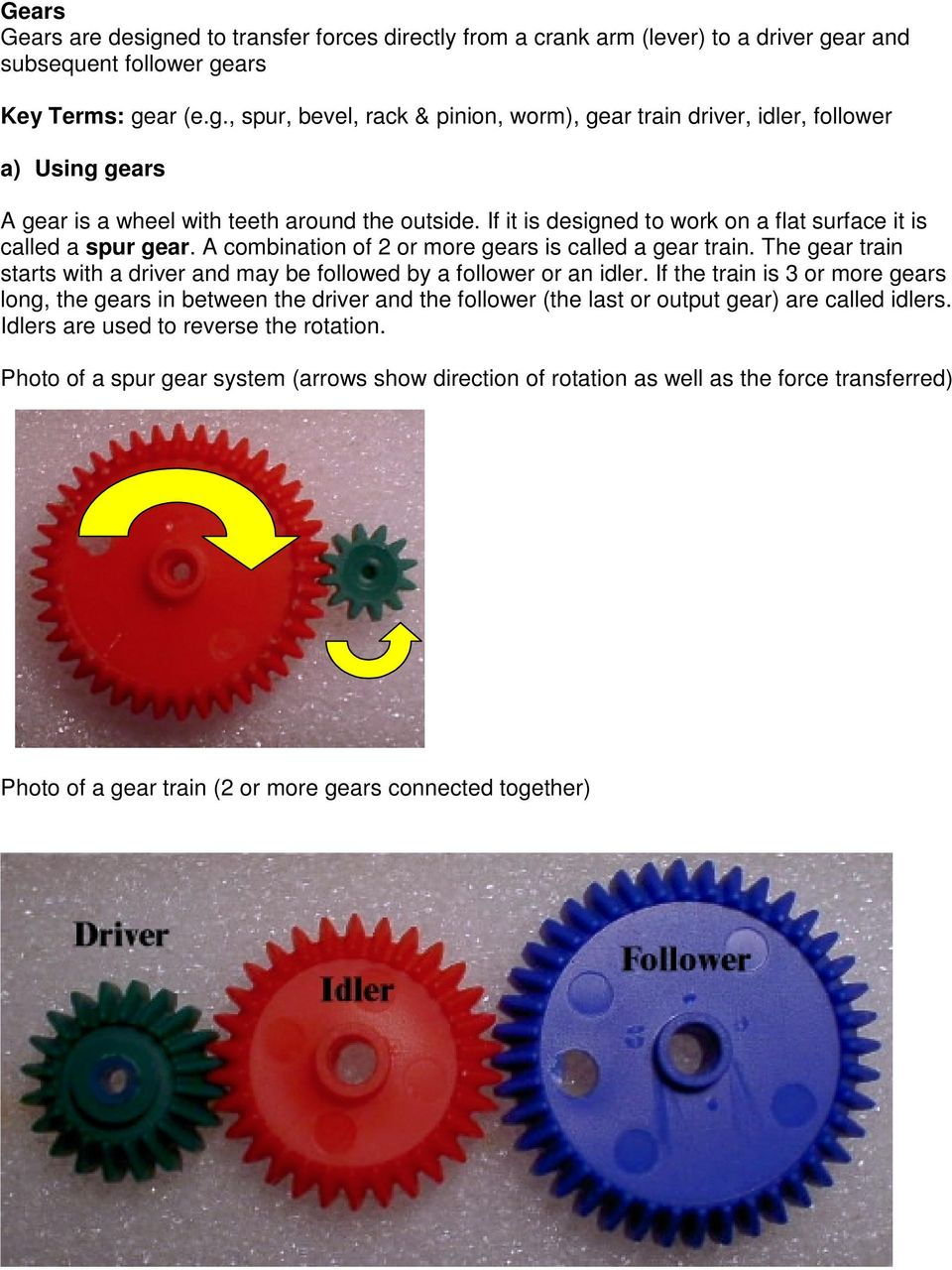 The gear train starts with a driver and may be followed by a follower or an idler.