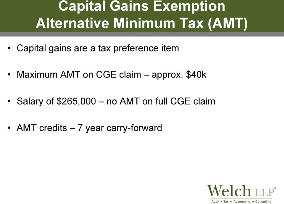 Maximum AMT on CGE claim approx.