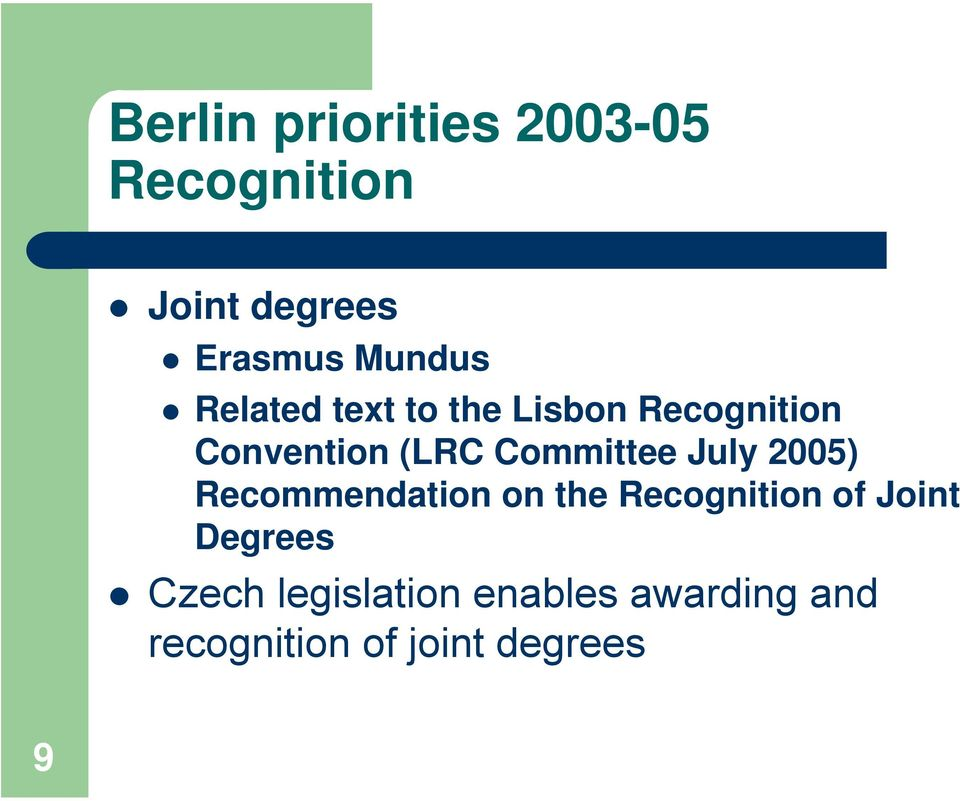 Committee July 2005) Recommendation on the Recognition of Joint