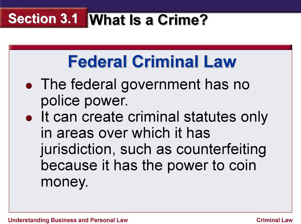 It can create criminal statutes only in areas