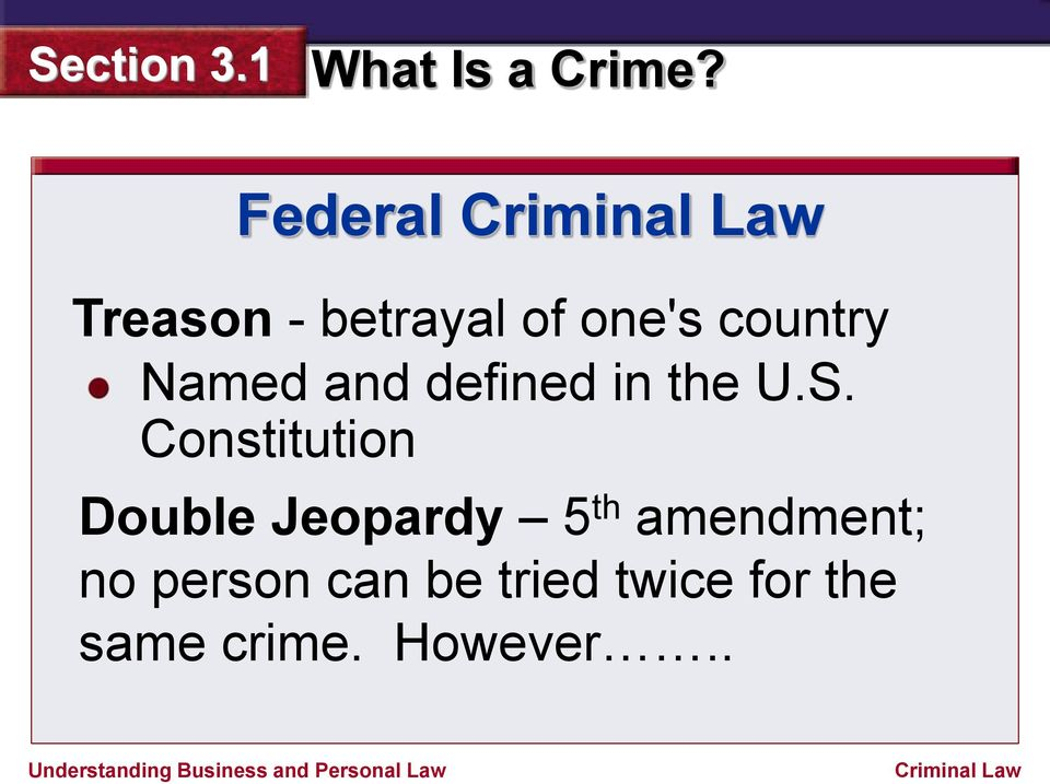 Constitution Double Jeopardy 5 th amendment;