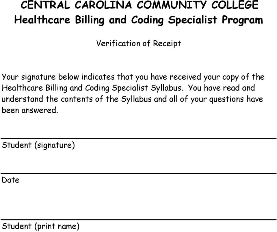 Healthcare Billing and Coding Specialist Syllabus.