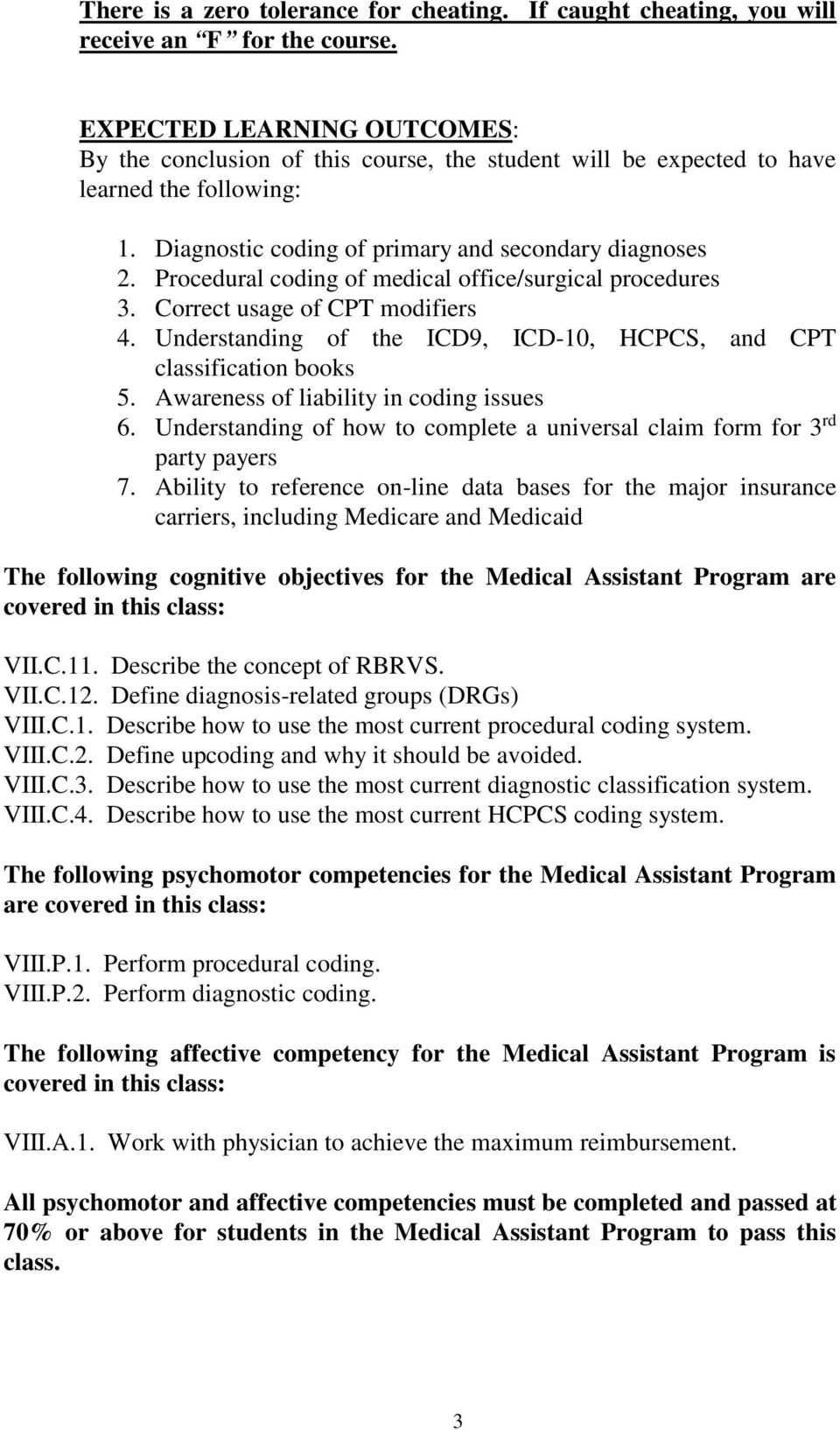 Procedural coding of medical office/surgical procedures 3. Correct usage of CPT modifiers 4. Understanding of the ICD9, ICD-10, HCPCS, and CPT classification books 5.
