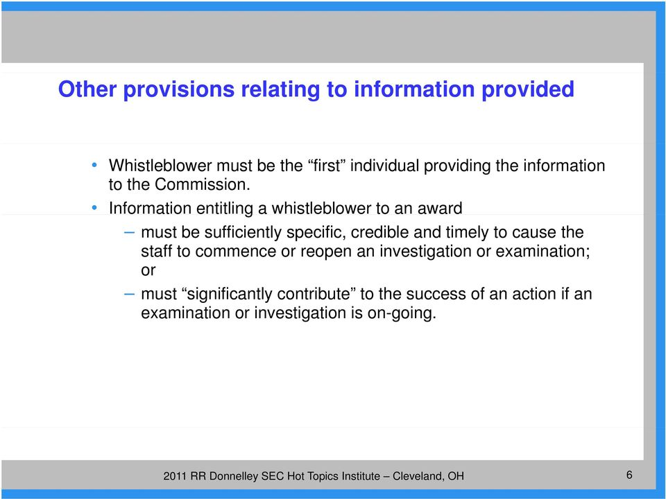 Information entitling a whistleblower to an award must be sufficiently specific, credible and timely to