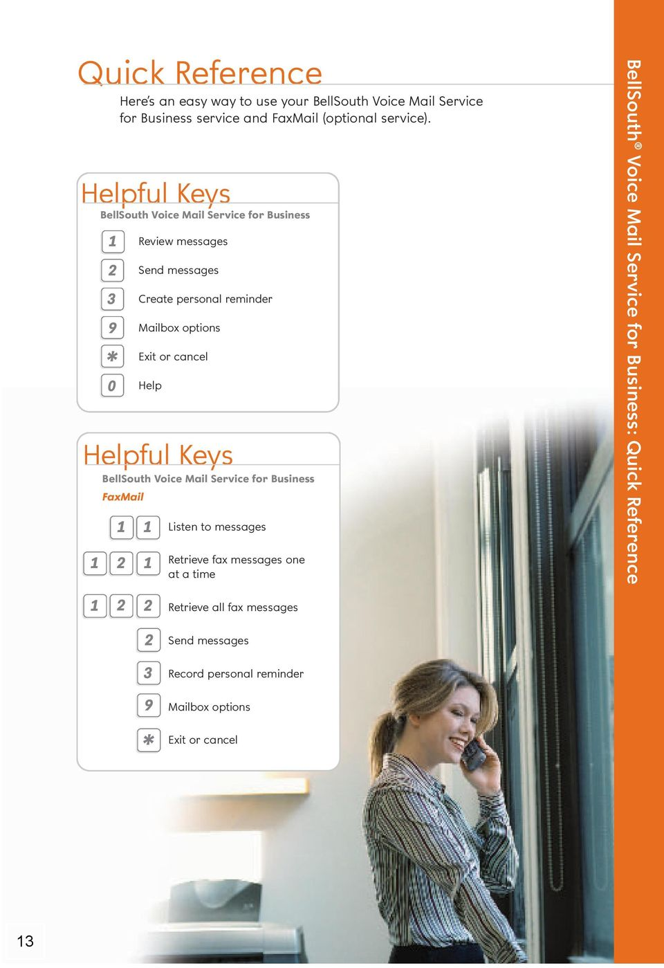 Helpful Keys BellSouth Voice Mail Service for Business Review messages 0 Send messages Create personal reminder Mailbox options Exit or