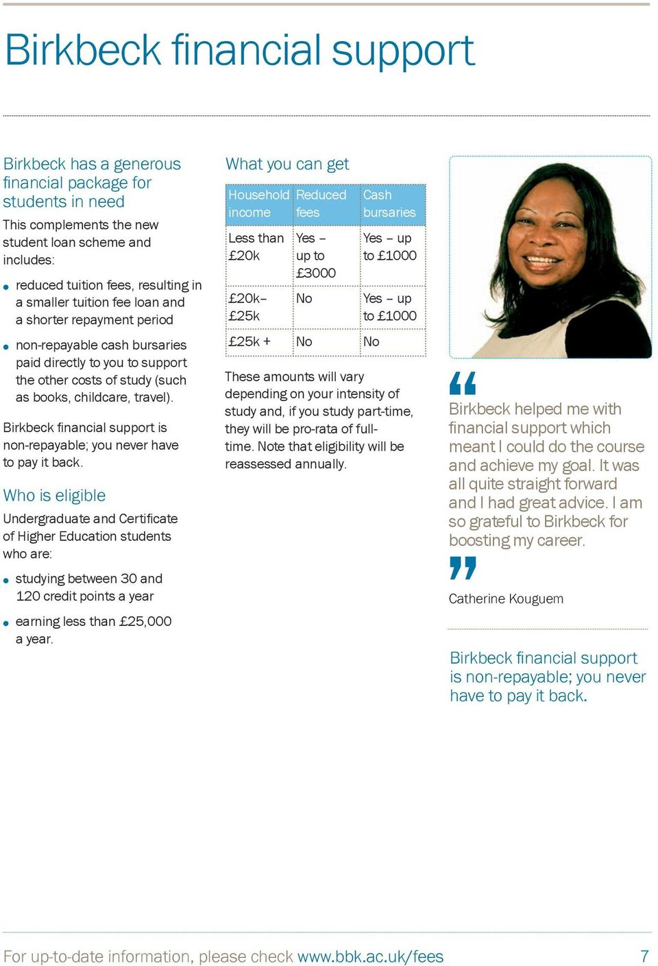 Birkbeck financial support is non-repayable; you never have to pay it back.