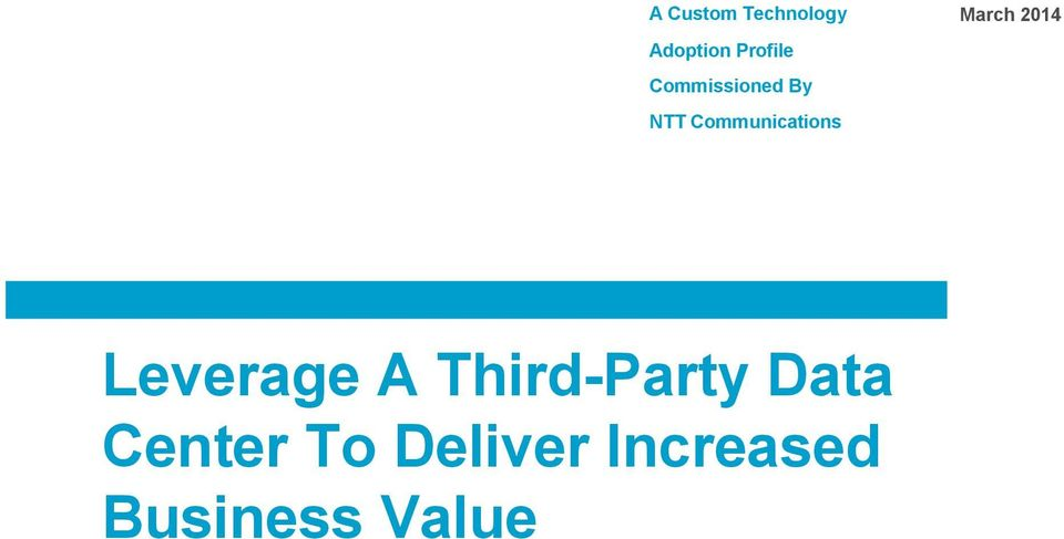 March 2014 Leverage A Third-Party Data
