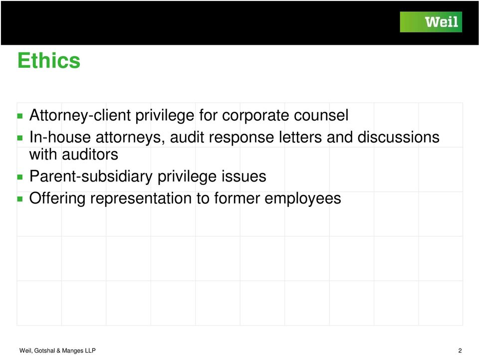 Attorney-Client Privilege and Communications with Auditors