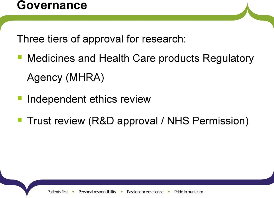 Regulatory Agency (MHRA) Independent ethics