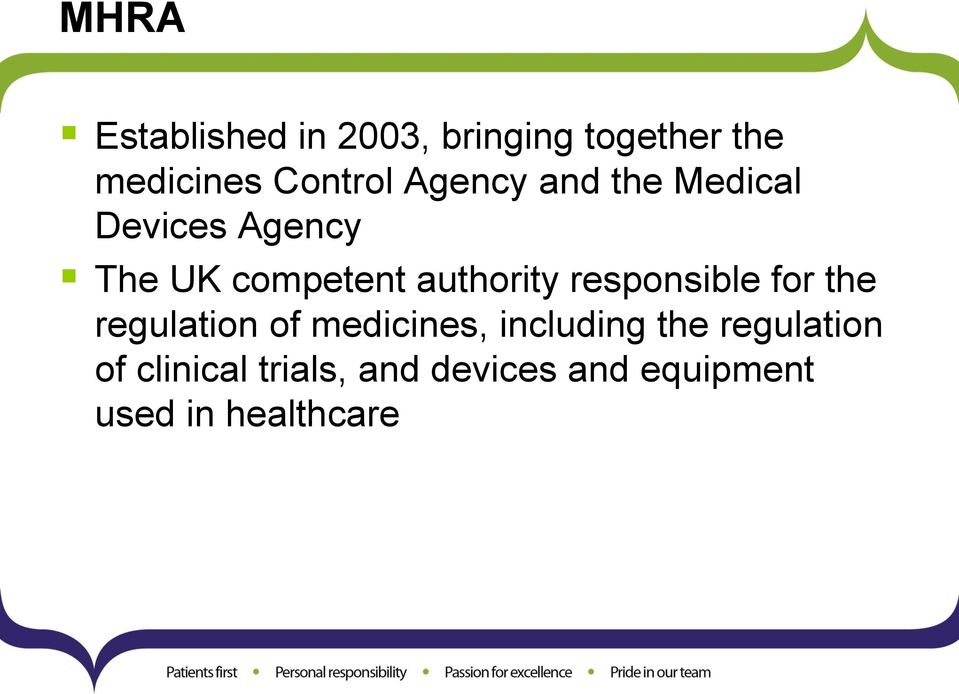 responsible for the regulation of medicines, including the