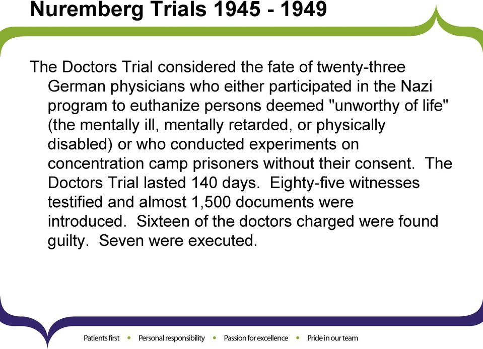 conducted experiments on concentration camp prisoners without their consent. The Doctors Trial lasted 140 days.