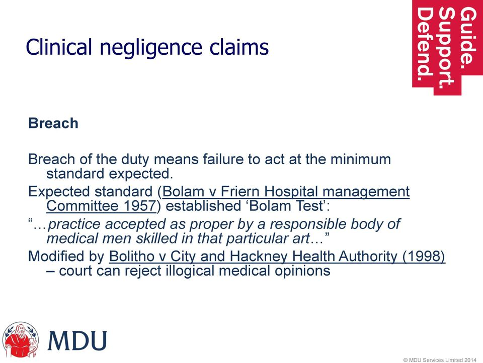 Expected standard (Bolam v Friern Hospital management Committee 1957) established Bolam Test :