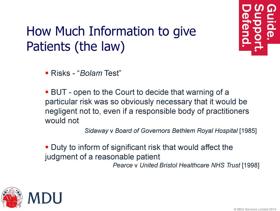 body of practitioners would not Sidaway v Board of Governors Bethlem Royal Hospital [1985] Duty to inform of