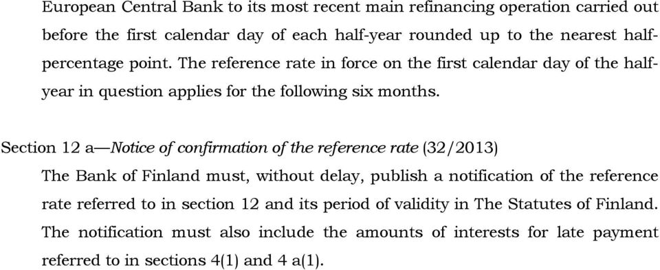 Section 12 a Notice of confirmation of the reference rate (32/2013) The Bank of Finland must, without delay, publish a notification of the reference rate