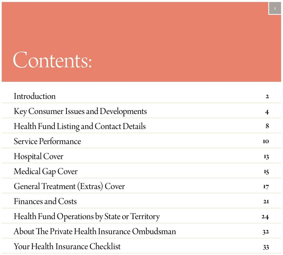 Treatment (Extras) Cover 17 Finances and Costs 21 Health Fund Operations by State or