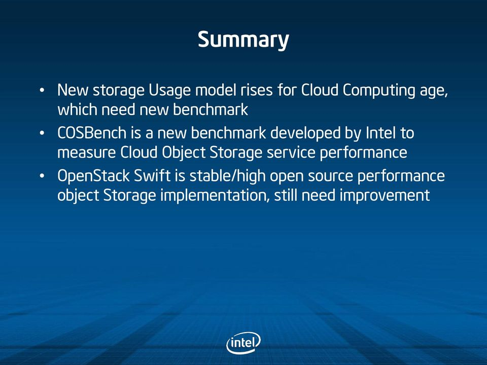 Cloud Object Storage service performance OpenStack Swift is stable/high