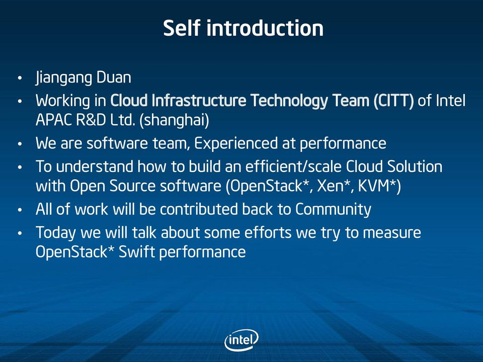 (shanghai) We are software team, Experienced at performance To understand how to build an