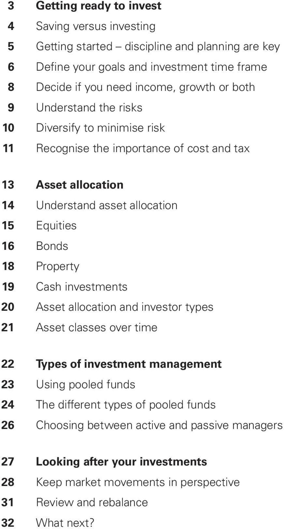 Bonds 18 Property 19 Cash investments 20 Asset allocation and investor types 21 Asset classes over time 22 Types of investment management 23 Using pooled funds 24 The different