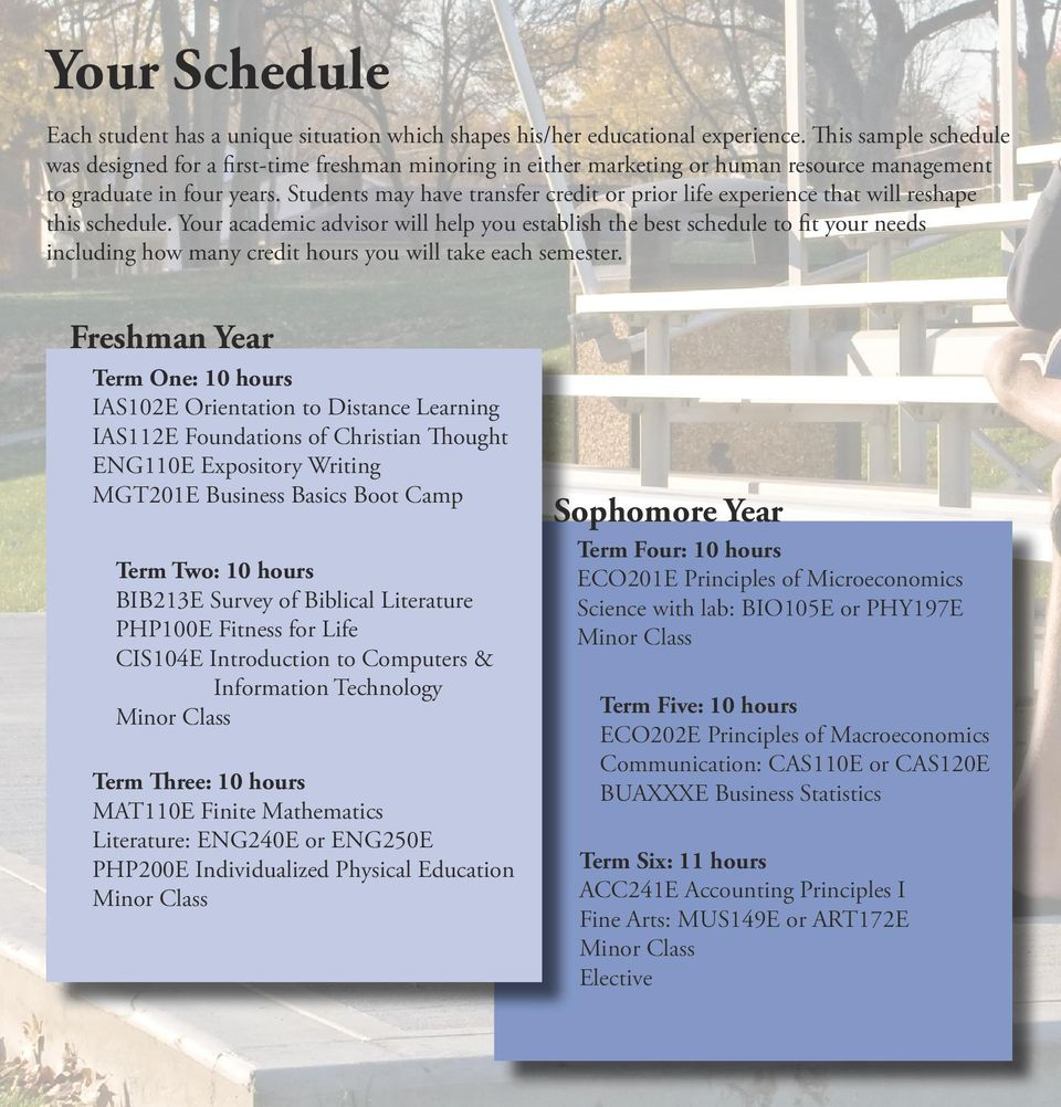 Students may have transfer credit or prior life experience that will reshape this schedule.