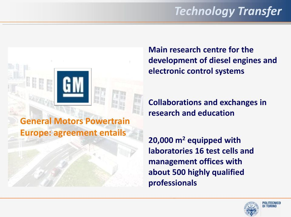 Collaborations and exchanges in research and education 20,000 m 2 equipped with