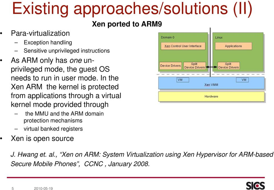 In the Xen ARM the kernel is protected from applications through a virtual kernel mode provided through the MMU and the ARM domain