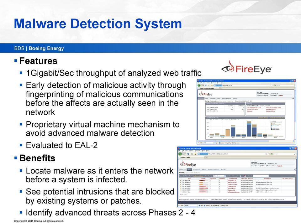 mechanism to avoid advanced malware detection Evaluated to EAL-2 Benefits Locate malware as it enters the network before a