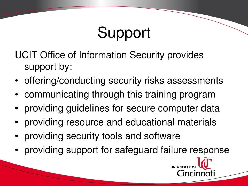 program providing guidelines for secure computer data providing resource and